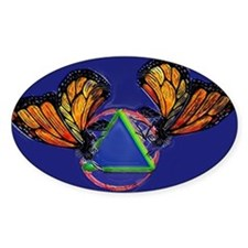 Recovery Butterfly Oval Bumper Stickers