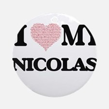 I Love my Nicolas (Heart Made from Round Ornament