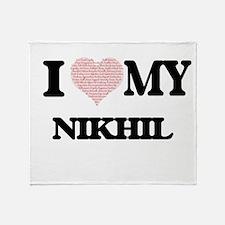 I Love my Nikhil (Heart Made from Lo Throw Blanket