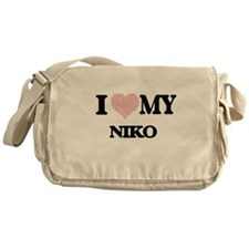 I Love my Niko (Heart Made from Love Messenger Bag