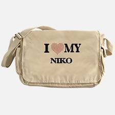 I Love my Niko (Heart Made from Love Messenger Bag