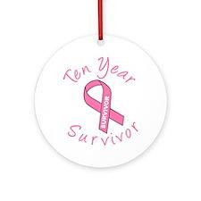 Ten Year Survivor Ornament (Round)