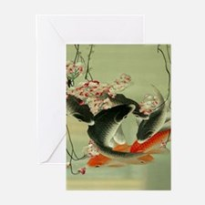 zen japanese koi fish Greeting Cards