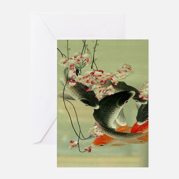 zen japanese koi fish Greeting Cards