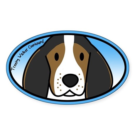 Anime Treeing Walker Coonhound Oval Sticker