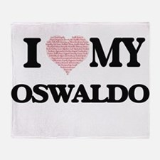I Love my Oswaldo (Heart Made from L Throw Blanket