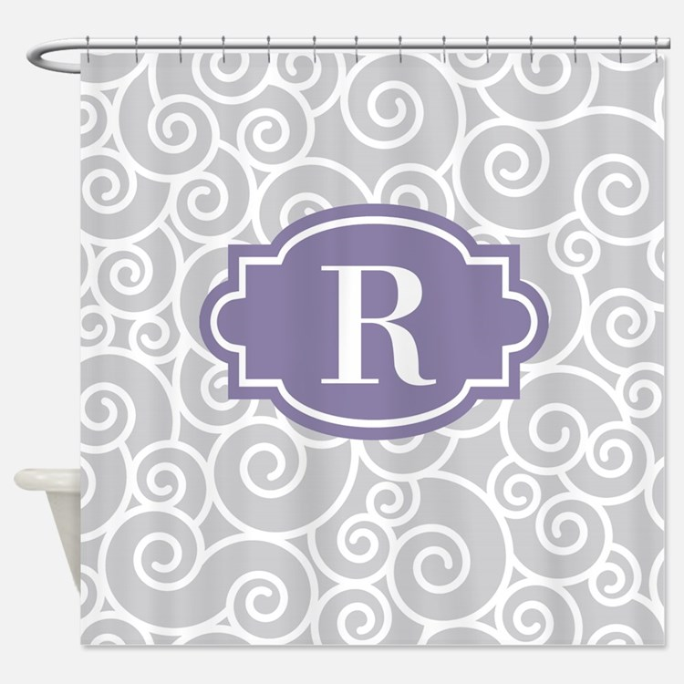 Plum Gray Shower Curtains