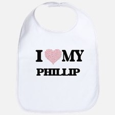 I Love my Phillip (Heart Made from Love my wor Bib