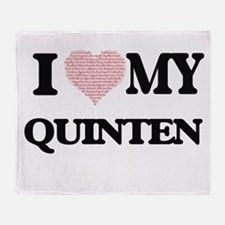 I Love my Quinten (Heart Made from L Throw Blanket