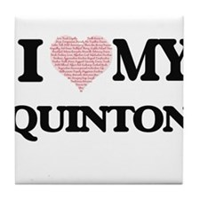 I Love my Quinton (Heart Made from Lo Tile Coaster