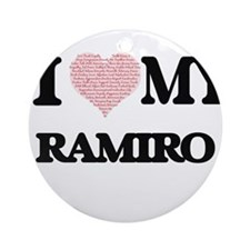 I Love my Ramiro (Heart Made from L Round Ornament