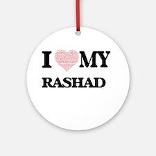 I Love my Rashad (Heart Made from L Round Ornament