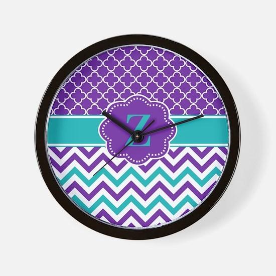 Purple Teal Quatrefoil Chevron Monogram Wall Clock