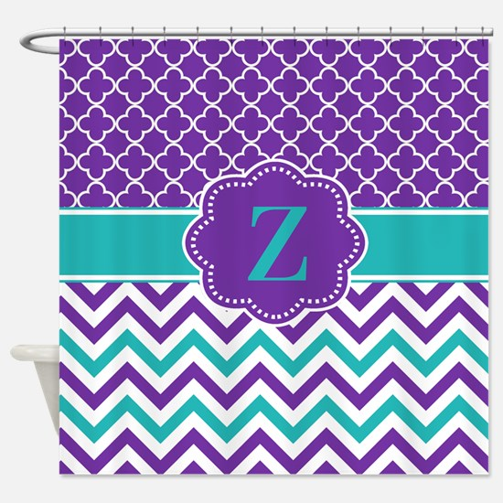 Purple Teal Quatrefoil Chevron Monogram Shower Cur