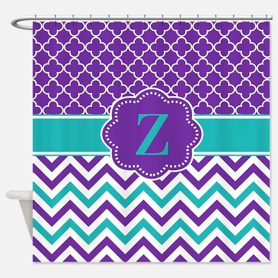 Purple Teal Quatrefoil Chevron Monogram Shower CurChevron Shower Curtains   CafePress. Turquoise Chevron Shower Curtain. Home Design Ideas