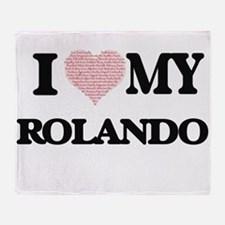 I Love my Rolando (Heart Made from L Throw Blanket