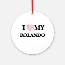 I Love my Rolando (Heart Made from Round Ornament