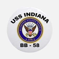 USS Indiana BB 58 Ornament (Round)