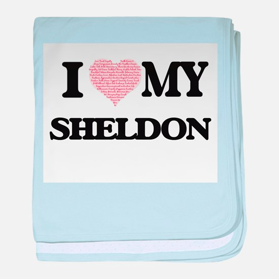 I Love my Sheldon (Heart Made from Lo baby blanket