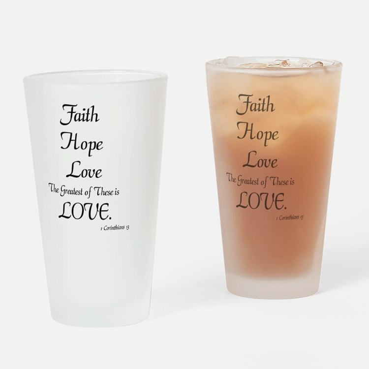 Cute Faith hope Drinking Glass