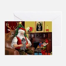 Santa's Silver Toy Poodle Greeting Card