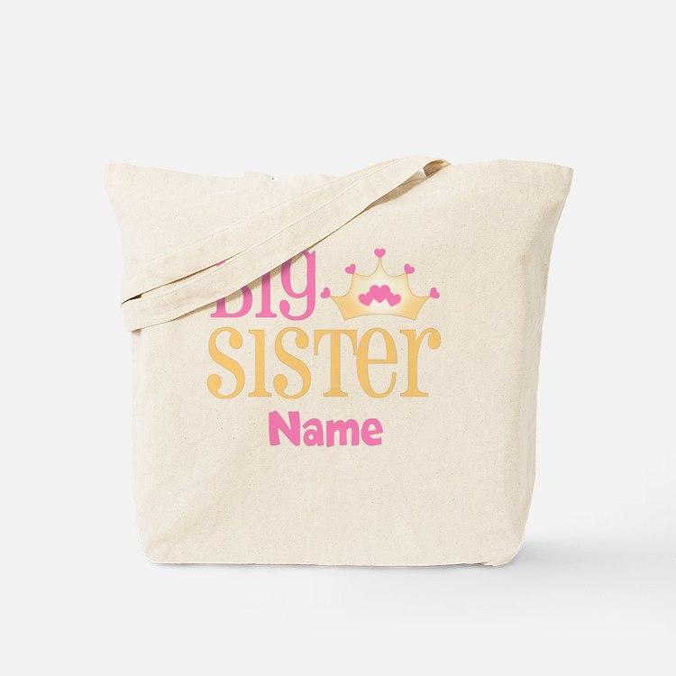 Big Sister Princess Crown Personalized Tote Bag