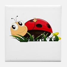 Cute Cartoon Ladybird Tile Coaster