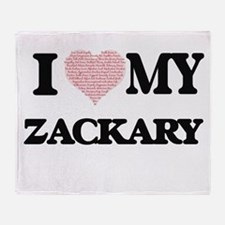 I Love my Zackary (Heart Made from L Throw Blanket