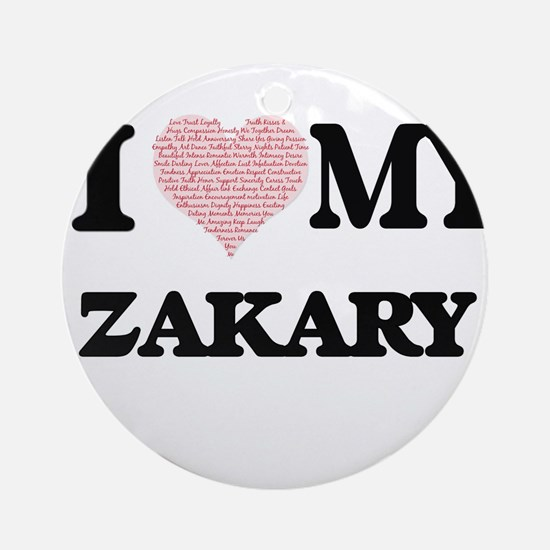 I Love my Zakary (Heart Made from L Round Ornament