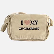 I Love my Zechariah (Heart Made from Messenger Bag