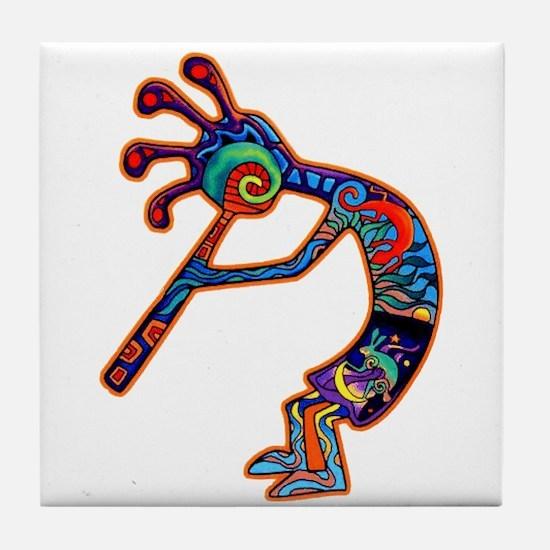 Lizard Kokopelli Tile Coaster