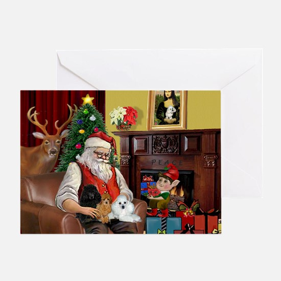 Santa's Poodle Trio Greeting Card