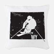 Ski Wyoming Woven Throw Pillow