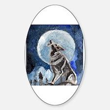 Funny Wolf decor Sticker (Oval)