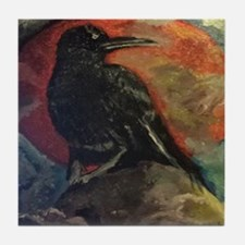 Cute Raven collects Tile Coaster