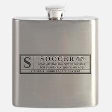 soccer warning label Flask