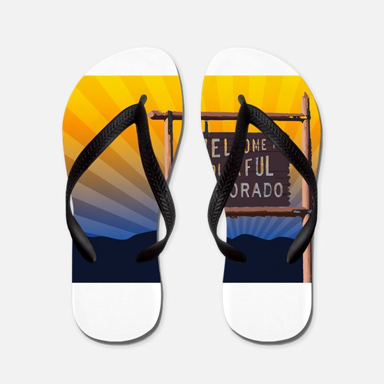 welcome to colorful colorado sign Flip Flops