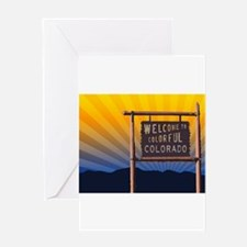 welcome to colorful colorado sign Greeting Cards
