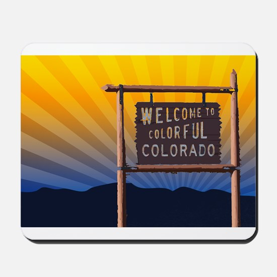welcome to colorful colorado sign Mousepad