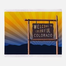 welcome to colorful colorado sign Throw Blanket
