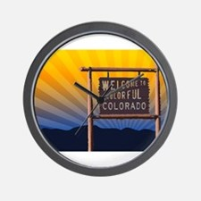 welcome to colorful colorado sign Wall Clock