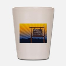 welcome to colorful colorado sign Shot Glass
