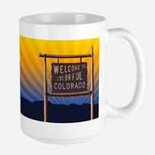 welcome to colorful colorado sign Mugs