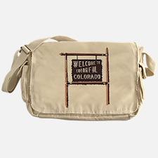 welcome to colorful colorado signage Messenger Bag
