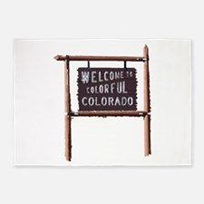 welcome to colorful colorado signage 5'x7'Area Rug