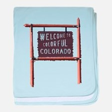 welcome to colorful colorado signage baby blanket