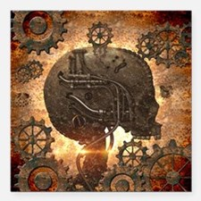 Awesome steampunk Skull with gears Square Car Magn