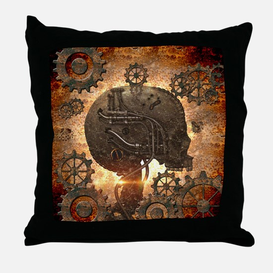 Awesome steampunk Skull with gears Throw Pillow