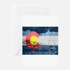 colorado concrete wall flag Greeting Cards