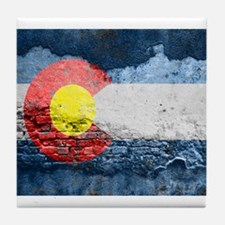 colorado concrete wall flag Tile Coaster